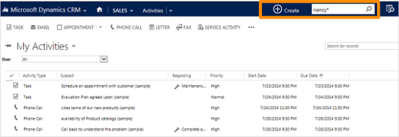 Quick Find in CRM 2015