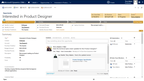 Redesigned User Interface (UI) CRM 2013