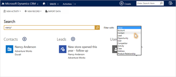 Search Box on the Navigation Bar CRM 2015